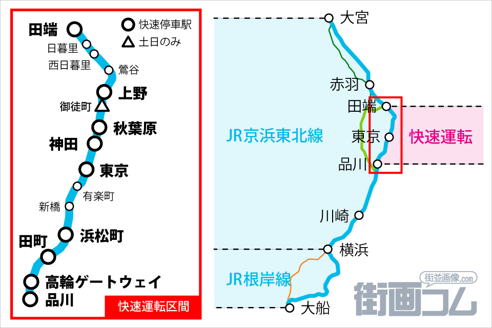 京浜東北線「快速」の停車駅を路線図で確認!「品川~田端」は要注意 ...